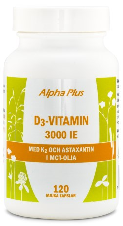 Alpha Plus D3-Vitamin 3000 IE +K2, Kosttillskott - Alpha Plus