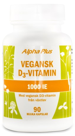 Alpha Plus Vegansk D3 Vitamin 1000 IE, Kosttillskott - Alpha Plus
