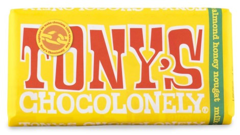 Tonys Chocolonely Milk Chocolate Almond Honey Nougat, Livsmedel - Tonys Chocolonely