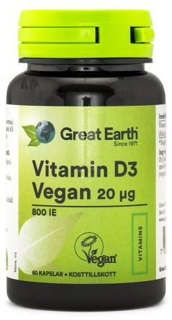 Great Earth Vitamin D3 Vegan 800 IE, Kosttillskott - Great Earth