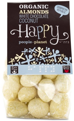 Happy People Planet Mandlar med Vit choklad och Kokos, Livsmedel - Happy People Planet